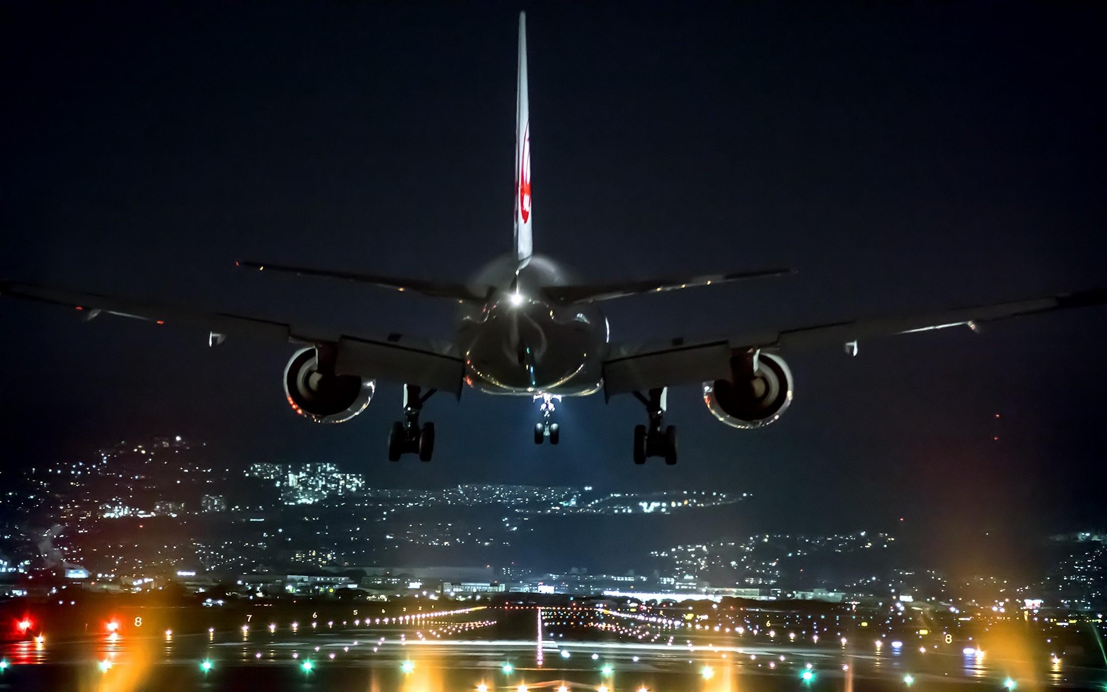 landing, lights, Osaka, night, Japan, airplane - wallpaper #158455