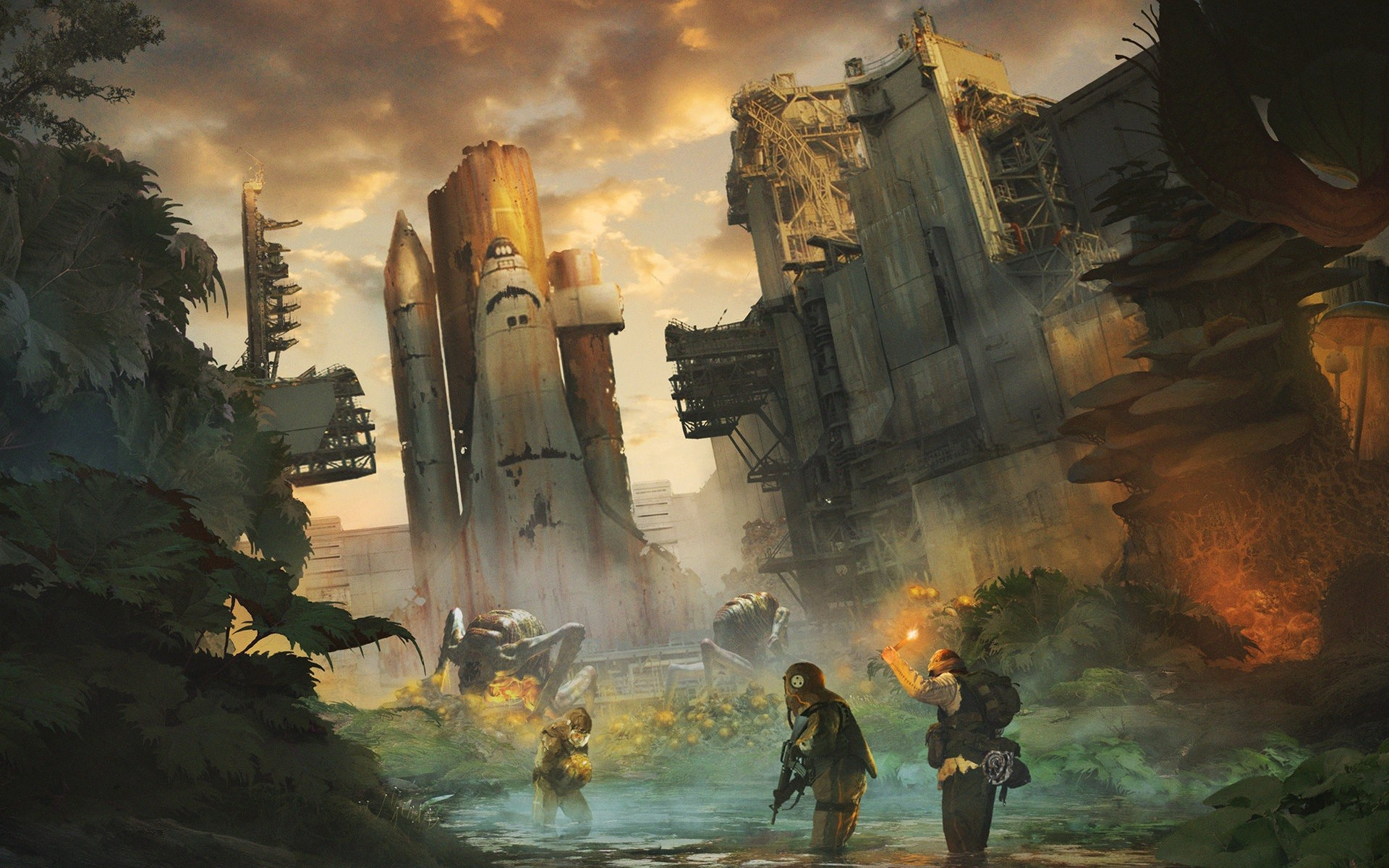 Abandoned Apocalyptic Space Shuttle Concept Art Artwork