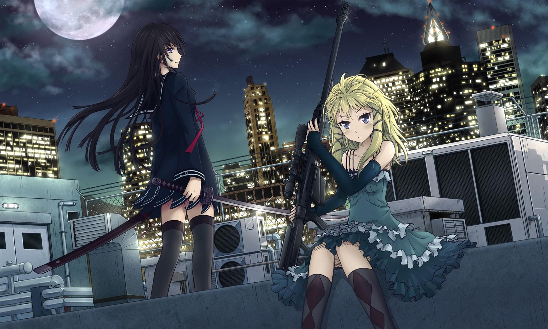 anime girls, machine gun, black bullet, tina sprout, anime, kisara
