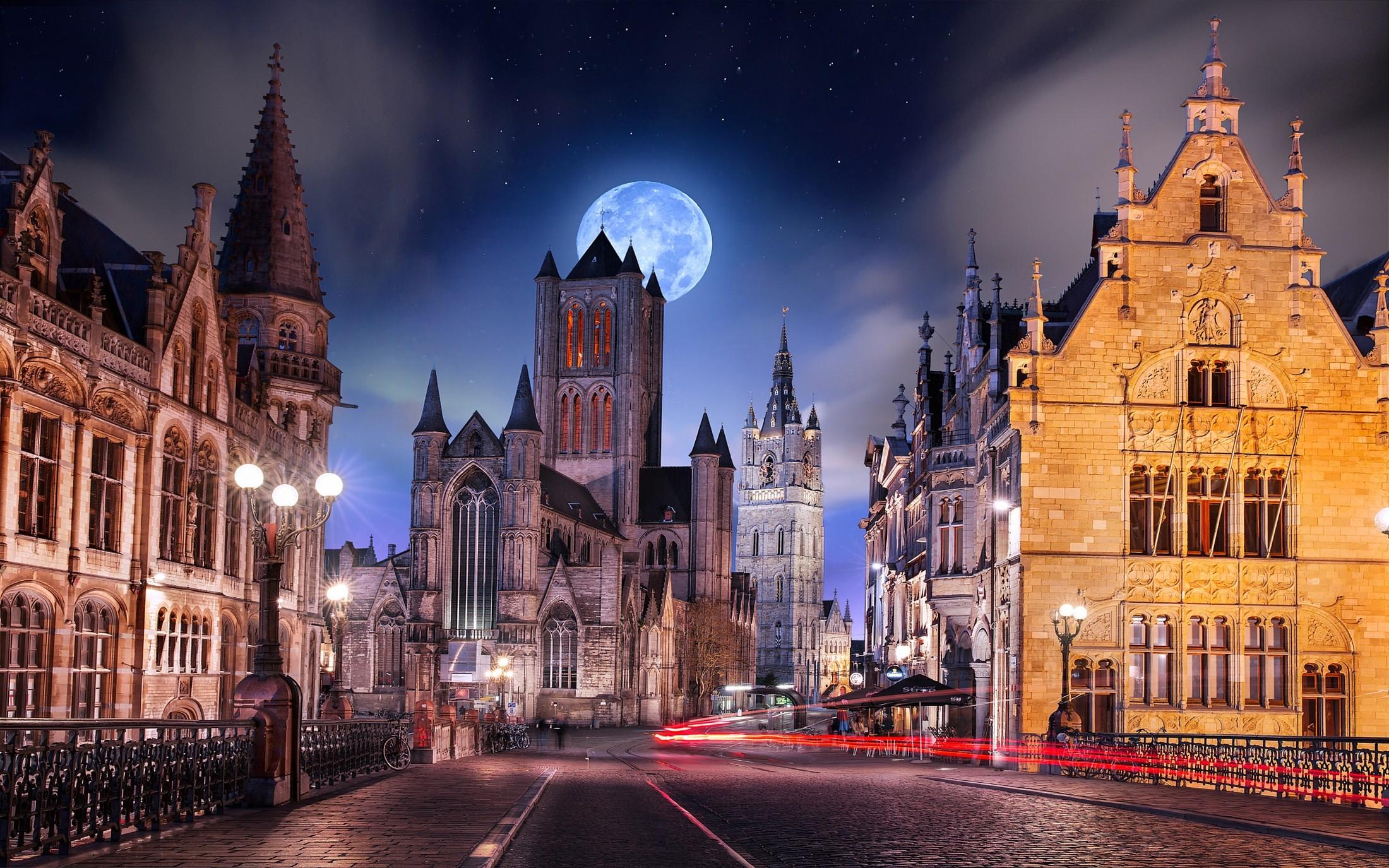 Belgium Starry Night Light Trails Architecture Street