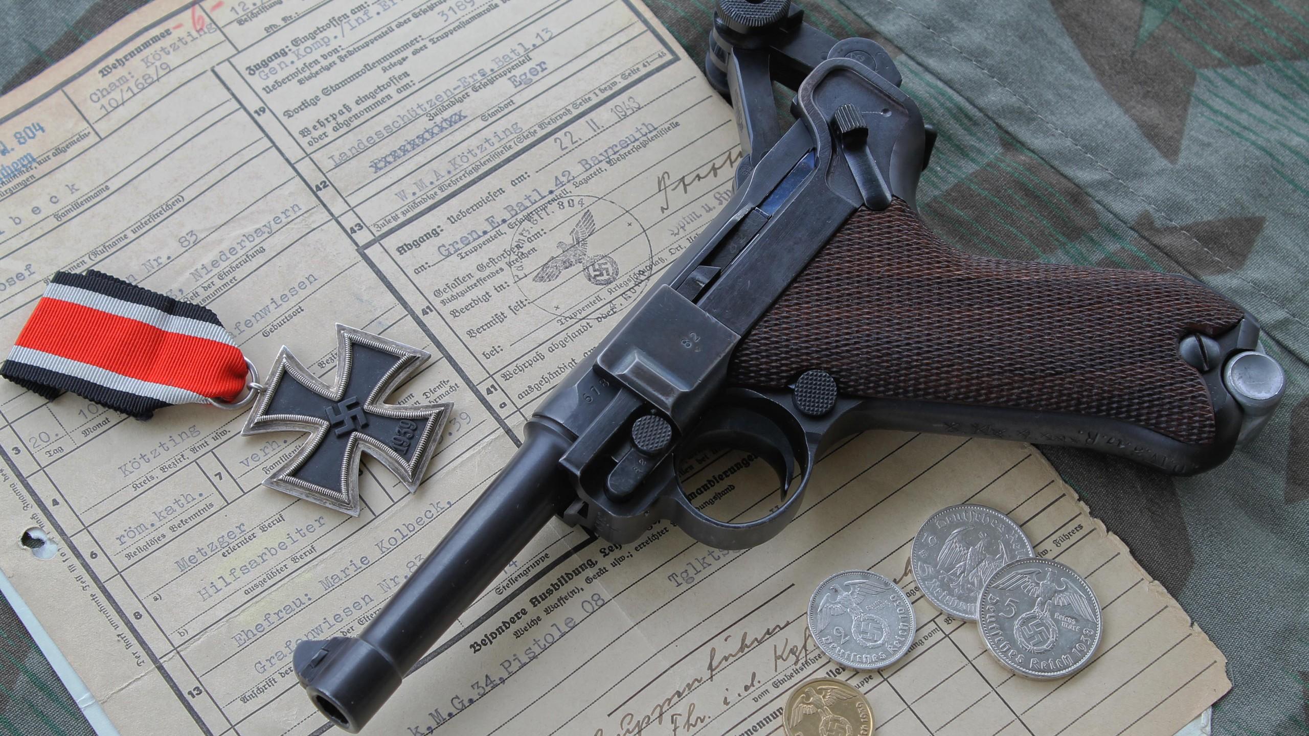 Luger P08 Iron Cross Pistol World War II Nazi Gun