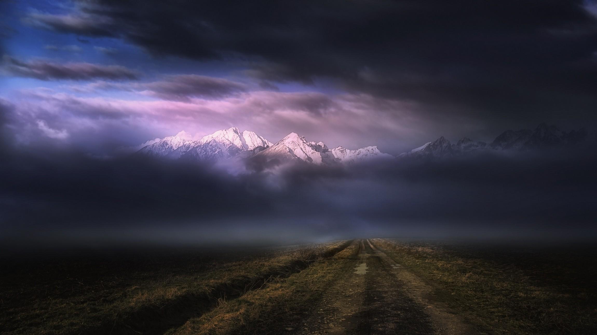 Sunlight Mist Dirt Road Sunset Clouds Snowy Peak