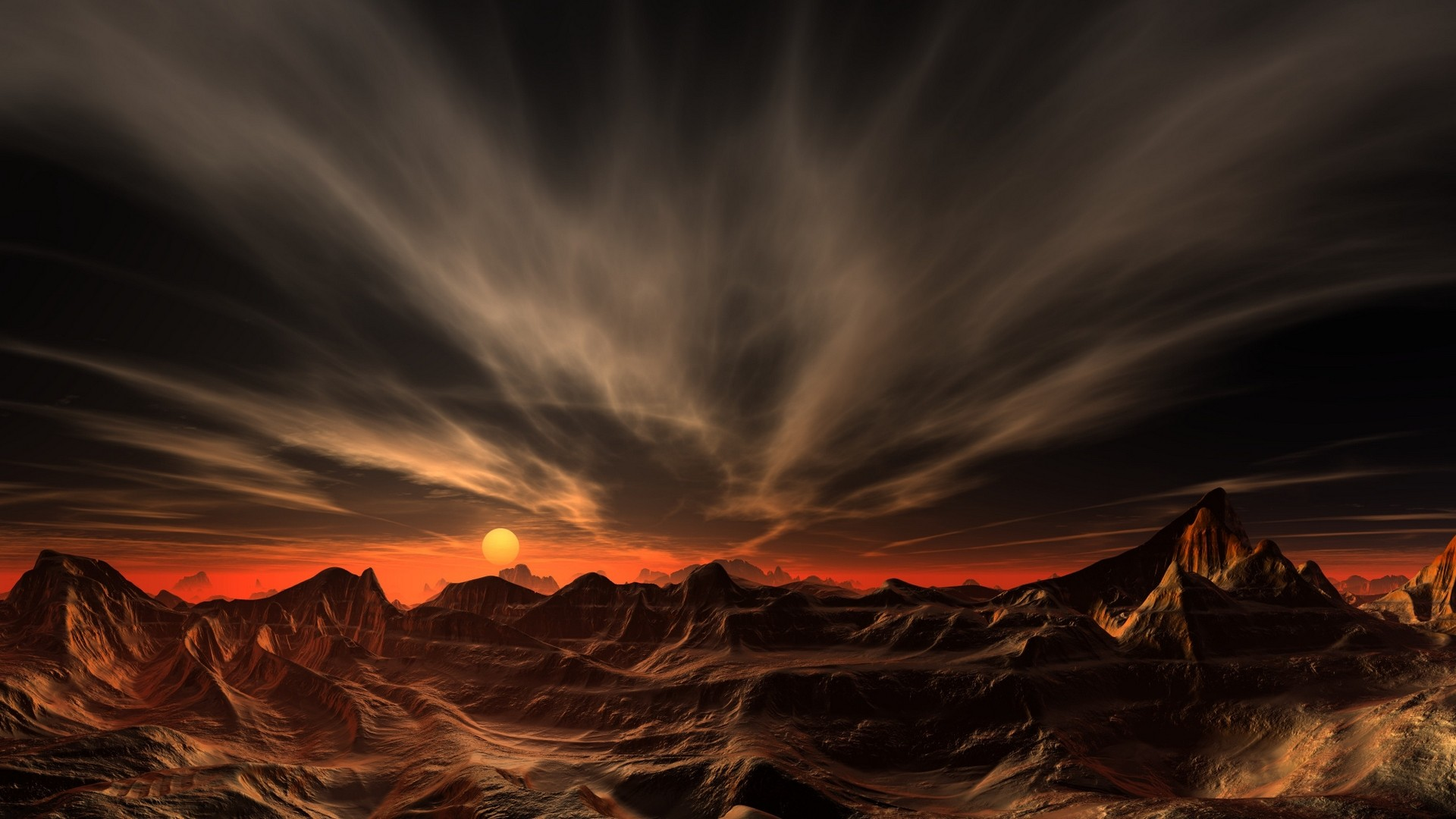 Mountain Clouds Red Sunset Desert Erosion