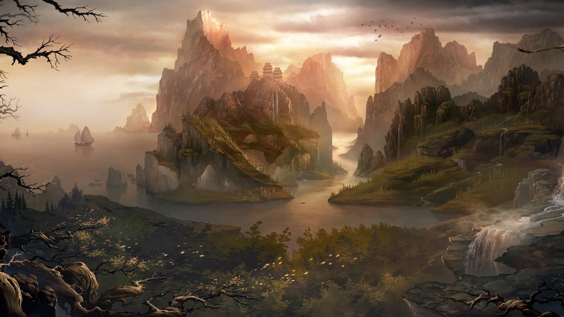 waterfall, trees, nature, island, hill, water - wallpaper #181721 ... for Fantasy Water Landscape  183qdu