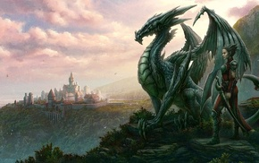 fantasy, city, men, dragon