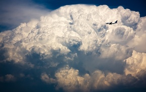 airplane, sky, storm, aircraft