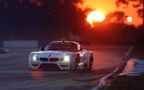 race cars, BMW Z4, sunset, nurburgring