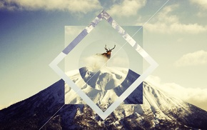 antlers, snow, reindeer, animals, mountain, polyscape