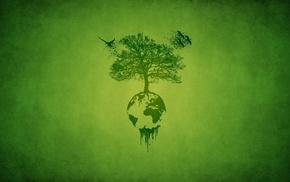 minimalism, tree, green, leaves