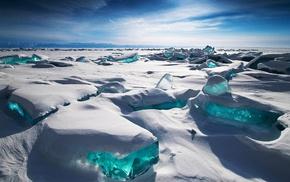 Siberia, ice, blue, snow, Lake Baikal, Alexey Trofimov