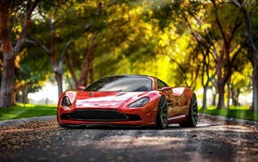car, Aston Martin DBC, red cars, sunlight, bokeh, Aston Martin