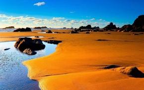 пейзаж, природа, Песок, вода