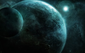 planet, space art, lens flare, space, orbits