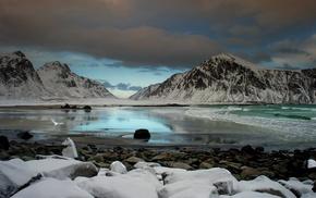озеро, пейзаж, снег, природа, небо