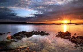 природа, море, закат, пейзаж, небо