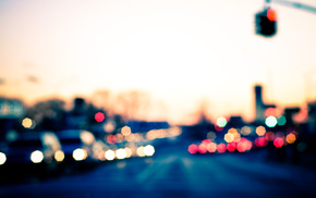 photo, lights, motion blur, road, bokeh