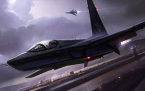 airplane, lights, aircraft, jet fighter, night