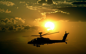 helicopter, sunset, aircraft