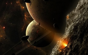 stars, space art, planet, asteroid, space