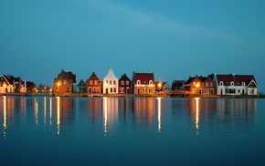 house, landscape, water, nature, lights, Netherlands