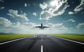 авиация, солнце, Самолет, трасса, аэропорт, небо