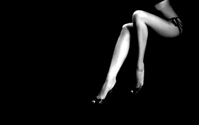 minimalism, black, background, black and white, feet