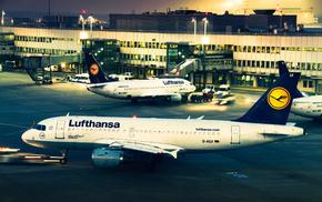 авиация, Lufthansa, вечер, аэропорт