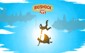 BioShock Infinite, Booker DeWitt, video games, Elizabeth BioShock, pixel art, falling