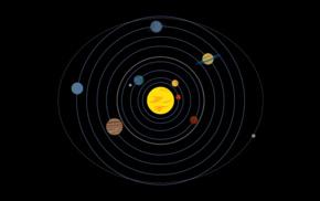 Solar System, minimalism, orbits, planet