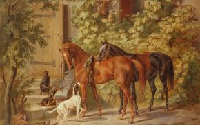 animals, painting, horses