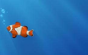 синий, Золотая рыбка, животные, пузыри