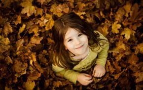 children, girlie, smiling, autumn, mood