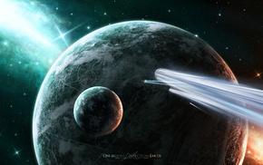 one billion light years away from earth, космос, корабли, кометы, звезды, stars