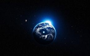 Планета, блик света, земля, космос, звезды