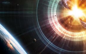 Земля, космос, planets, earth, взрыв, звезды