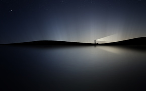 minimalism, water, night, lighthouse