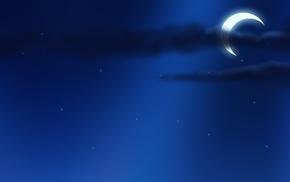 звёзды, Ночь, луна, минимализм, небо