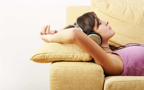 girls, headphones, music, couch