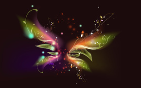 flowers, butterfly, lines, 3D