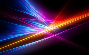 colors, rays, 3D, black background