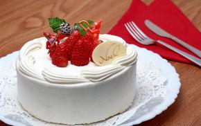 клубника, торт, вкусно