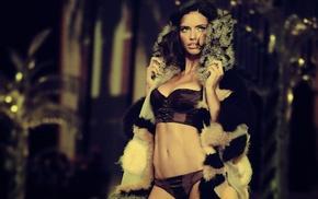 brunette, girls, Adriana Lima, linen
