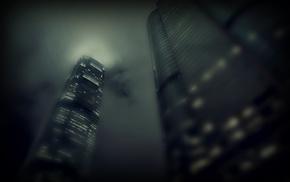 light, mist, cities, city, skyscrapers
