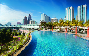 palm trees, swimming pool, cities, city