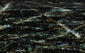 lights, night, aerial view, cityscape