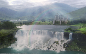 castle, rainbow, fantasy, waterfall, valley