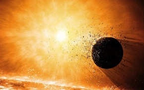 explosion, space, planet