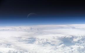 clouds, space, sky, horizon, moon