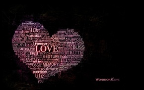 typography, love, word clouds, hearts