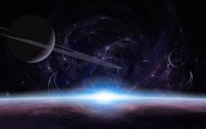 atmosphere, rings, space, light, sunrise